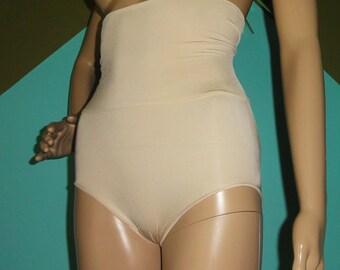 Vintage Ivory Panty Girdle M shapewear pinup clothing girl mid century 1950's high waist sissy retro boudoir mad men bettie page pantie