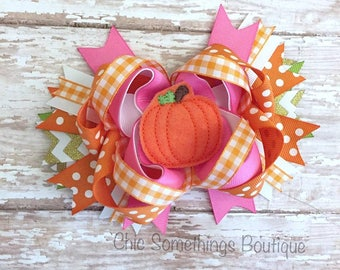 pumpkin bow, cake smash bow, pumpkin birthday bow, pumpkin hair bow, pumpkin headband, pumpkin first birthday, pink pumpkin bow, pumpkin