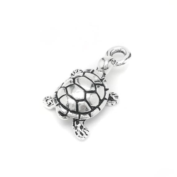 Turtle Charm - Add a Charm to a Custom Charm Bracelet, Necklaces or Key Chains - Read Description for More Info - Pewter Silver Plated Charm