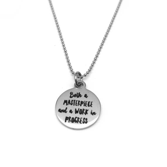2018 Quote Gift - 2018 Motivation - 2018 Motivational Gift - Both a Masterpiece and a Work in Progress Necklace - Fitness Motivation