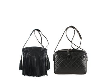 Leather bucket bag LOLA, MARA // black, fringed or quilted (Italian calf skin) - FREE shipping, unique bag