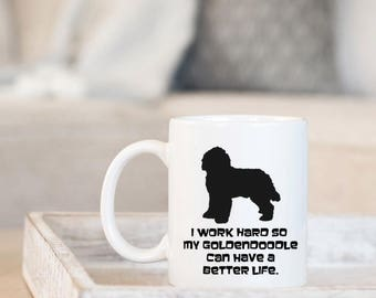 Goldendoodle Custom Coffee Cup, Your Dog's Name, Doodle Mom Doodle Dad Dog Gifts, Work Hard Goldendoodle, Cute New Puppy Dog Lover Gifts
