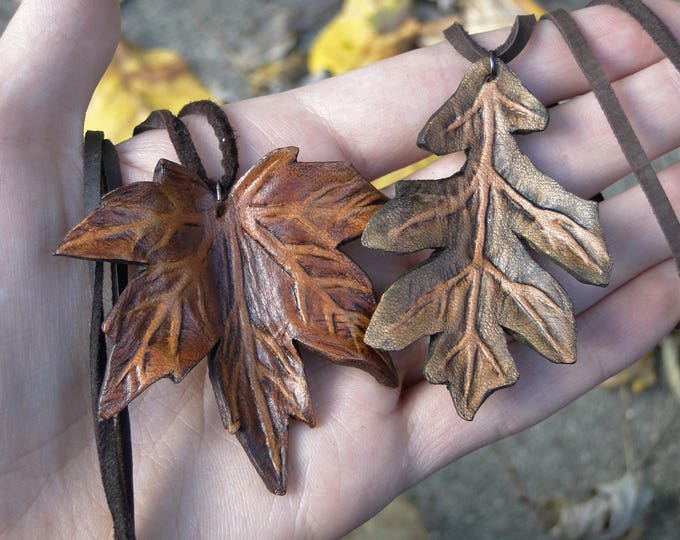 Leaf Necklace, Leather Leaf Pendant - Maple or Oak, Choose Your Colors