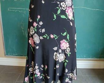 Silk midi skirt floral roses black pink Ralph Lauren 12 P L