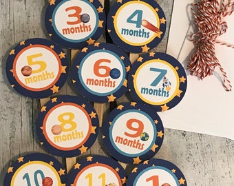 OUTER SPACE 1st Birthday Photo Clips Banner Newborn - 12 months - Party Packs Available