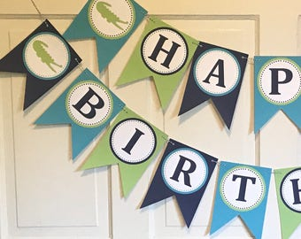 "Preppy Alligator  ""Happy Birthday""  or Baby Shower Banner - Green Blue Navy - Party Packs Available"