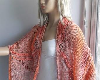 Romantic Roses Shawl - Wedding Shawl / Bridal Shawl / Roses Shawl / Crochet Shawl / Hand Knitted Shwl / Triangular Shawl / Spring Summer