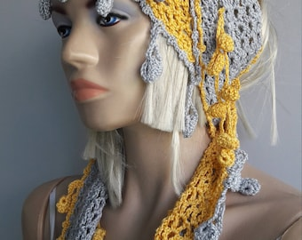 SUNNY HOME - Crochet Scarf / Cotton Scarf / Crochet Bandana / Fringed Scarf / MultiColor Scarf / Crochet Scarflette / Crochet Neckwarmer