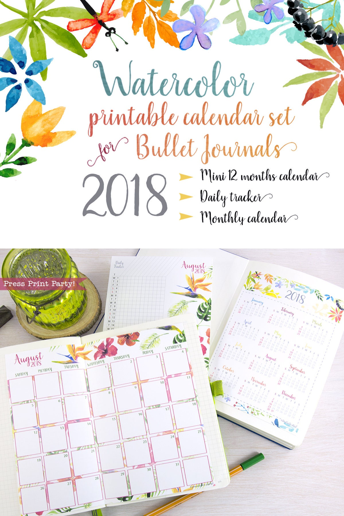2018 Calendar Printable Set For Bullet Journals And Planners