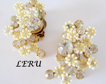 Leru Floral Earrings - White Flower - Rhinestone Centers -  Clip Ons - Pearled Nuggets - BOOK PIECE