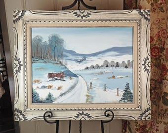 Original Oil Painting- Vintage- Large, Framed, Signed Jo Swaim- Snowy winter rural landscape with barns and wagon