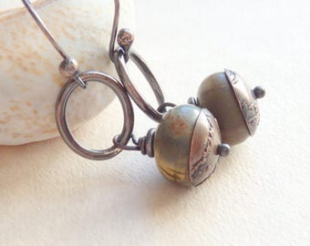 Earthy Stone Earrings, Blue and Brown Jasper Drop with Etched Copper Bead Caps on Darkened Copper Hoops, Copper Boho Jewelry