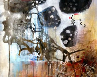 """Original Mixed Media Contemporary expressionist abstract painting- """"A Spotty Connection"""""""