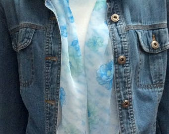 """Skinny Scarf-Sheer Open Blossoms of Blue. Light blue background with blue open blossoms  6x60"""" Silk feel Hat Scarf 3209"""