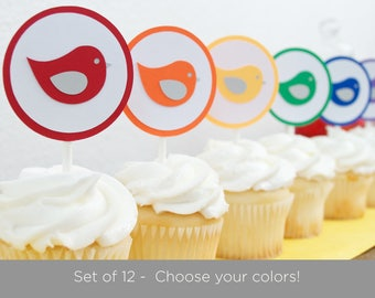 Set of 12 Bird Cupcake Toppers, Bird Baby Shower Decorations, Choose Colors