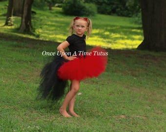 Red and Black Bustle Tutu - All Sizes Newborn 3 6 9 12 Months 2T 3T 4t 5t 6 7 8 10 12 Teen Adult Kids Birthday Skirt - Halloween Costume