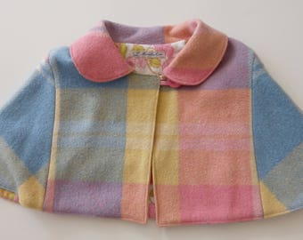 girls cape icecream colours woollen vintage plaid