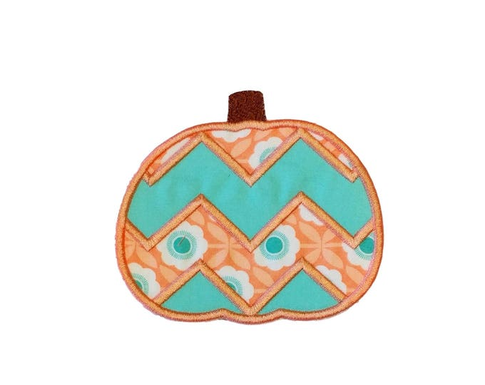 Coral and teal chevron pumpkin fabric iron on applique- fall no sew embroidered patch- ready to ship