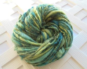 Bulky Handspun, LEAVES OF GRASS Soft Handspun Yarn, Bulky Knitting Yarn, Bulky Merino Yarn, Weaving Yarn, Thick & Thin Yarn, Kid Mohair Lock