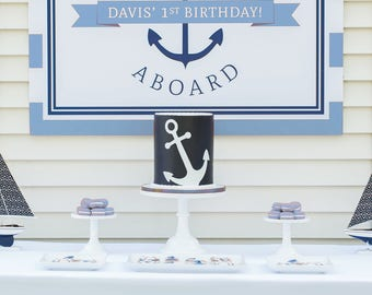 Nautical Anchor Party Backdrop (Anchor Birthday, Nautical Party Sign, Nautical Party Printables, Anchor Poster, Light Blue and Navy Blue)