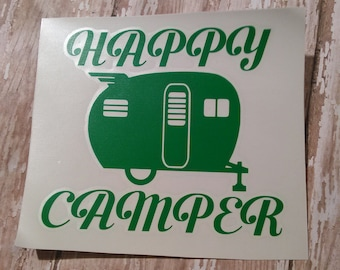 Happy Camper Decal | Camping Decal | Travel Decal | Adventure Decal | Vinyl Decal | Decal | Planner Accessory | Camping Sticker | Camping