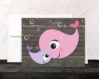 Whale Note Cards - Rustic Wood Cute Mommy Baby Girl Whales with Bubbles Thank You Cards - Blank Inside - Printed Cards