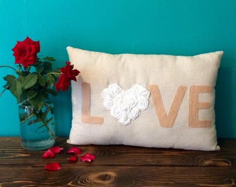"12"" x 18"" Natural Cotton LOVE Pillow w/ Rosette Heart-Choose Your Colors-Custom-Shabby Chic-Rustic Chic-Farmhouse"
