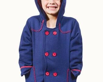 Navy Blanket Stitch Toddler Wool Coat