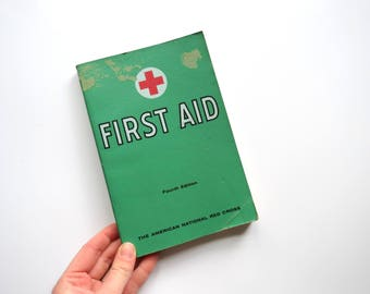 Vintage First Aid Book // 1966 Fourth Edition Illustrated American Red Cross Medical Guide Mid Century Retro Bookshelf Decor Graphics