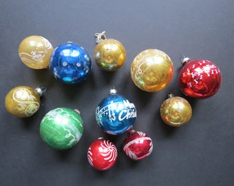 Retro Ball Ornaments Lot // Mid Century Modern Decorated Glass Colorful Christmas Ornaments Mismatched Collection Blue Gold Red Green