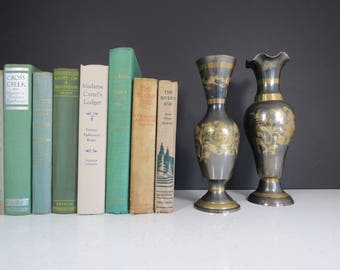 Brass Vases Pair // Vintage Two-Tone Mid Century Modern Tall Floral Vases Indian Style Etched Flower Design Shelf Display Centerpieces Set