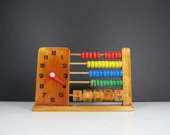 Vintage Wooden Abacus // Retro Handmade Children's Toy Counting Beads Math Learning School Toy Rustic Nursery Decor Clock and Calculator Toy