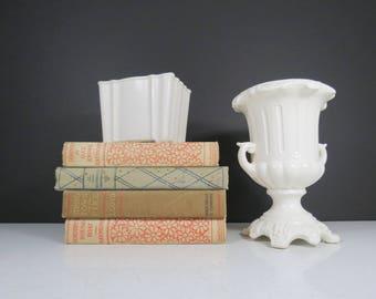 Vintage Pedestal Planter // ONE Mid Century Retro Table Centerpiece Footed Vase or Flower Pot Ornate White Glazed Ceramic Wedding Decor Gift