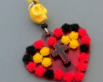Dia De Los Muertos way heart pendant, black cross, neon yellow skull, red and black roses