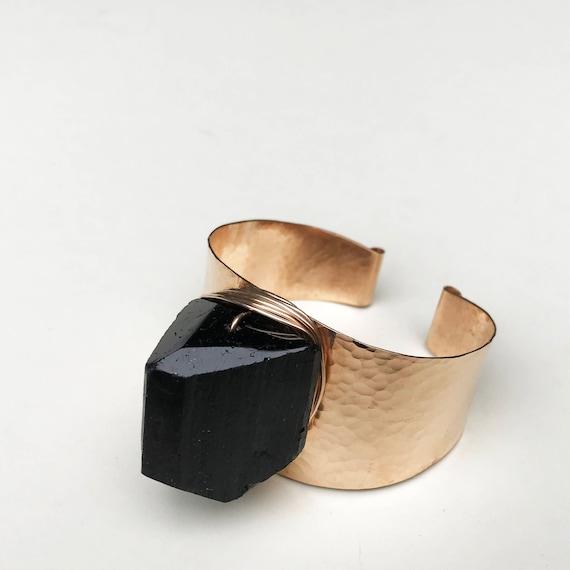 Black Tourmaline Hammered Cuff Bracelet
