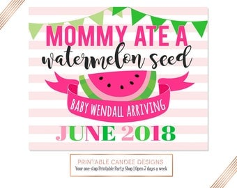 Summer Pregnancy Announcement, Going to be a big sister, Expecting Photoshoot Prop, Promoted to Big Sister sign, Watermelon, DIY Printable