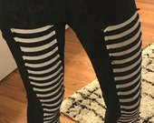 XS Black and White Striped Skinny Jeans/Leggings