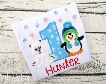 Boys Winter ONEderland Birthday Shirt - Winter Wonderland - Penguin - Polar Bear - Snowflakes - Blue Green Red - Personalized Applique Shirt
