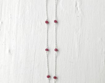 Sterling Silver Ruby Necklace/Silver Necklace/Silver Layer Necklace/BirthStone Ruby Gemstone Crystal Necklace/Bridesmaids Necklace/Ruby