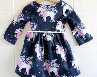 Winter Unicorn Dress-   , girls dress, winter dress, long sleeve dress, birthday dress, unicorn dress, party dress, baby winter dress