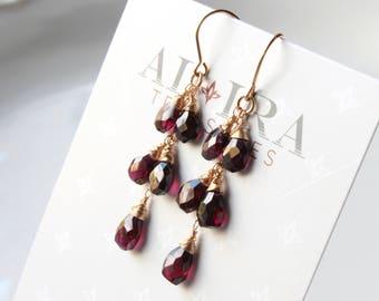 Garnet earrings, Gold filled earrings, deep red gemstone earrings, boho earrings, cluster earrings, January birthstone, gift for her, 3238