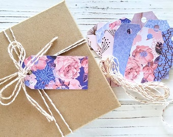 20 mixed cardstock tags and twine - rose gold periwinkles and pinks