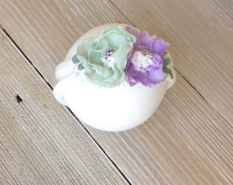Purple and Mint Stretch Ivory Headband for Baby Girl - Newborn, Baby, Toddler, Child - Ready to Ship