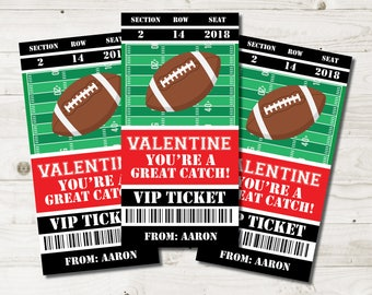 football valentine cards kids football valentine cards children football valentines football ticket - Football Valentine Cards