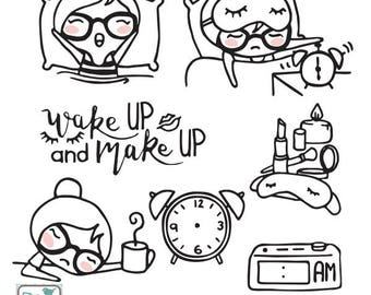Planner Girl - Wake Up Stamp Clipart - Planner Stickers, scrapbook , card design, invitations, paper crafts, web design, INSTANT DOWNLOAD