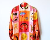 Vintage Silk Statement Blouse / Bold and Colorful Silk Button Down / Slouchy Silk Blouse