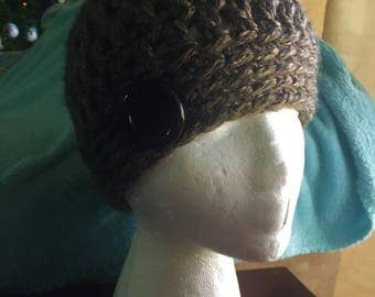 Textured Thick Brown/Tan Variegated Crochet Hat