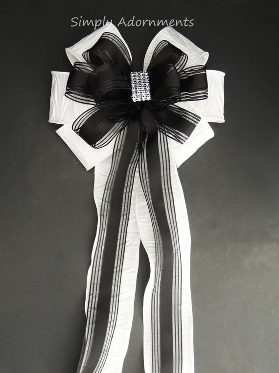 Black White Wedding Pew Bow White Black Halloween Bow Wedding Ceremony Decoration Black White Wedding Aisle Bow Black White Chair Bow
