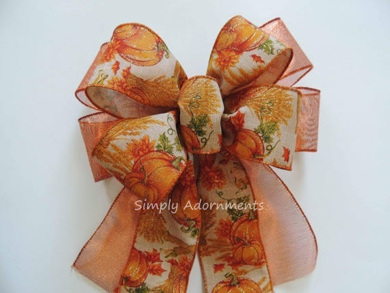 Thanksgiving Harvest Wreath Bow Fall Pumpkin Bow Rustic Fall Harvest Wreath Bow Fall Pumpkin Lantern Swag Bow Fall Pumpkin Door Hanger Decor