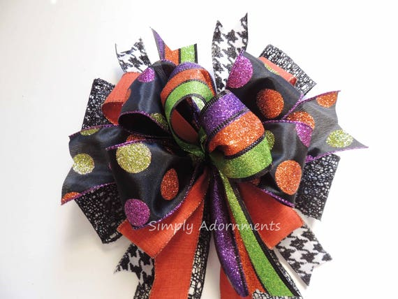 Multi colored Halloween Wreath Bow Whimsical Halloween Dot Bow Door Decor Bow Halloween Multicolored Bow Multicolored Halloween Party Decor